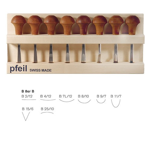 Pfeil, Holz- und Linolschnittbeitel, 8-teiliger Satz